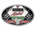 Screwed, Stewed, Tattooed Belt Buckle with display stand. Product code WB8